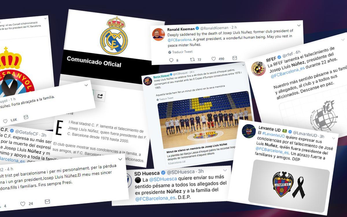 Las reacciones al fallecimiento de Josep Lluís Núñez