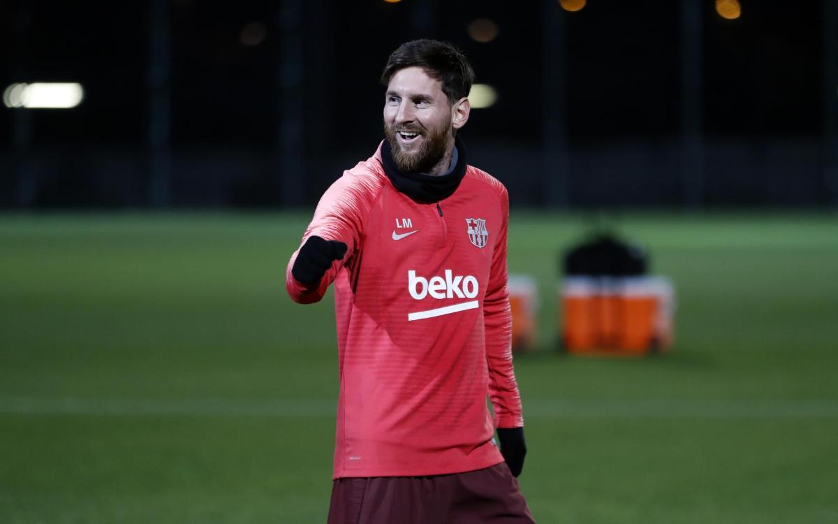 Leo Messi during training