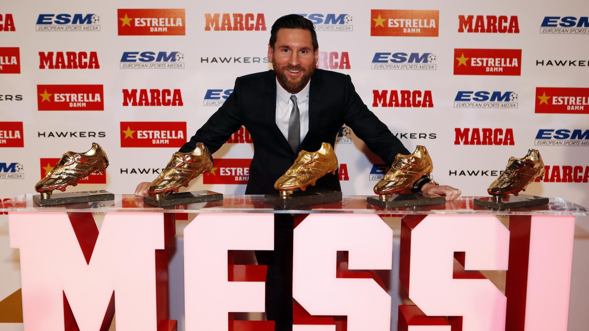 Leo Messi receives his fifth Golden Shoe