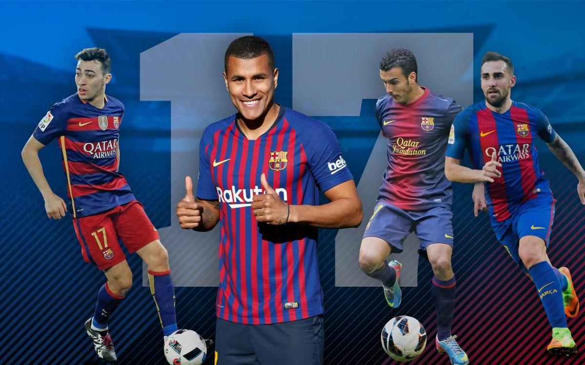 Tous les numéros '17' du FC Barcelone