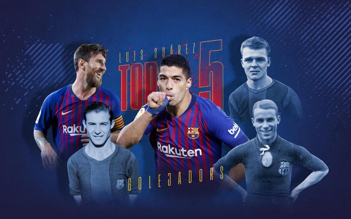 Suárez entra al top 5 de golejadors de la història del Barça