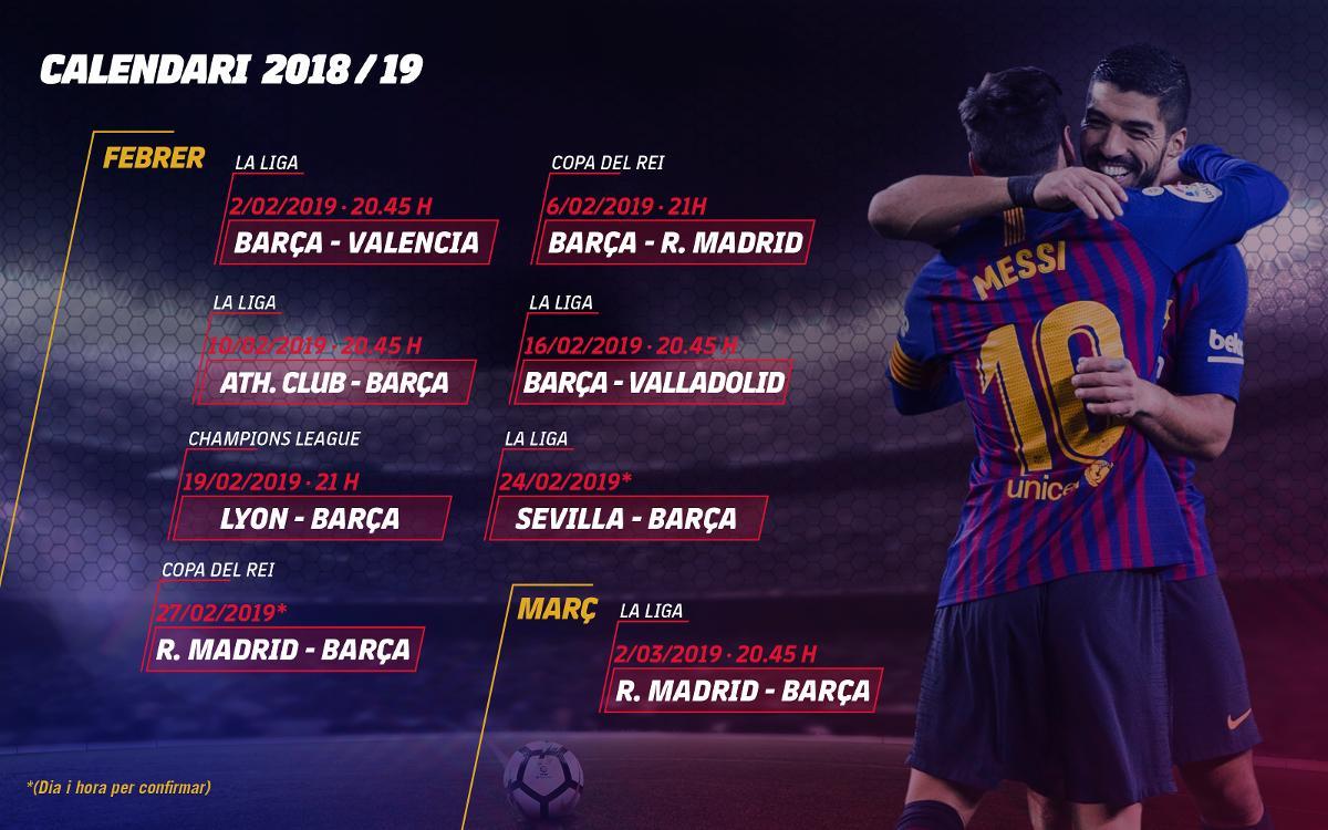 El calendari exigent que tindrà el FC Barcelona durant el mes de febrer