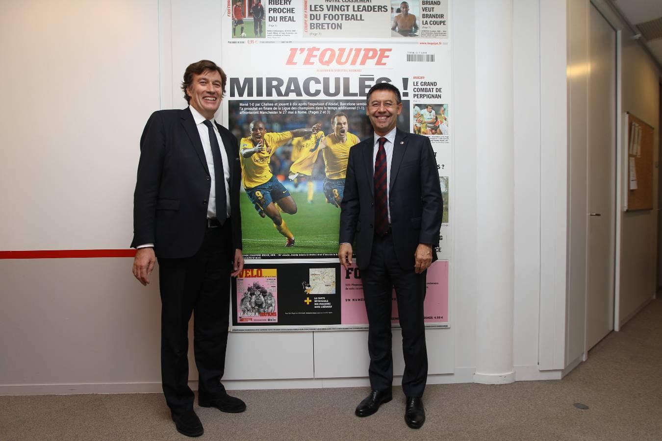 L'Équipe receives president Bartomeu