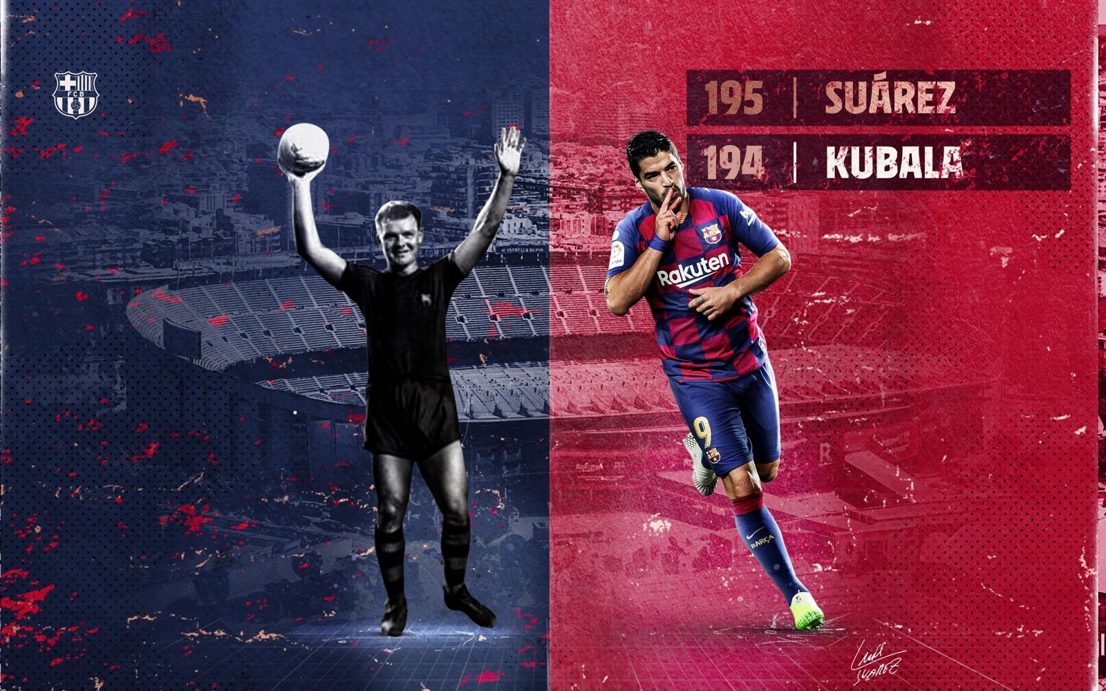 Luis Suárez vượt qua Kubala