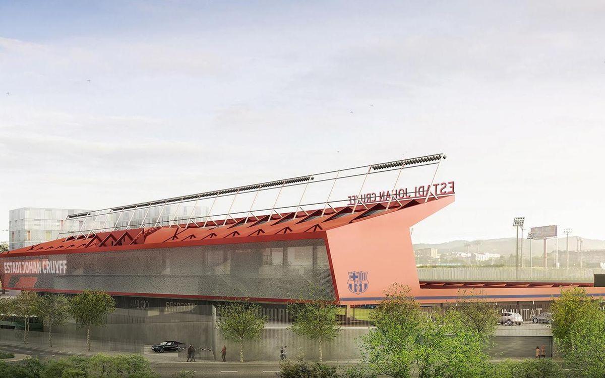 Estadio de perfil asimétrico, con una tribuna alta de 1.000 espectadores