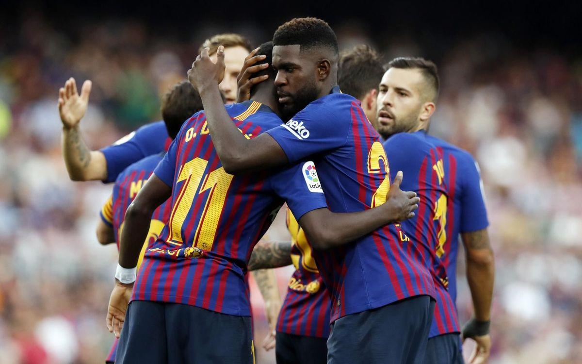 Dembélé i Umtiti celebren un gol contra la SD Huesca