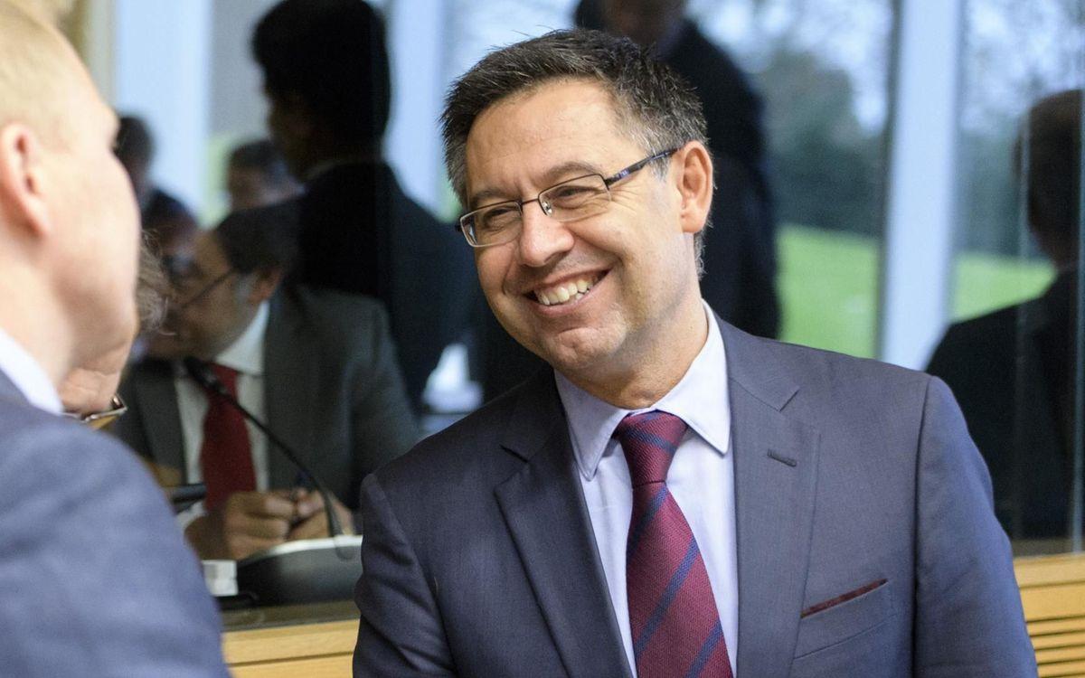 Bartomeu, en la reunión del Comité Estratégico de Fútbol Profesional de la UEFA