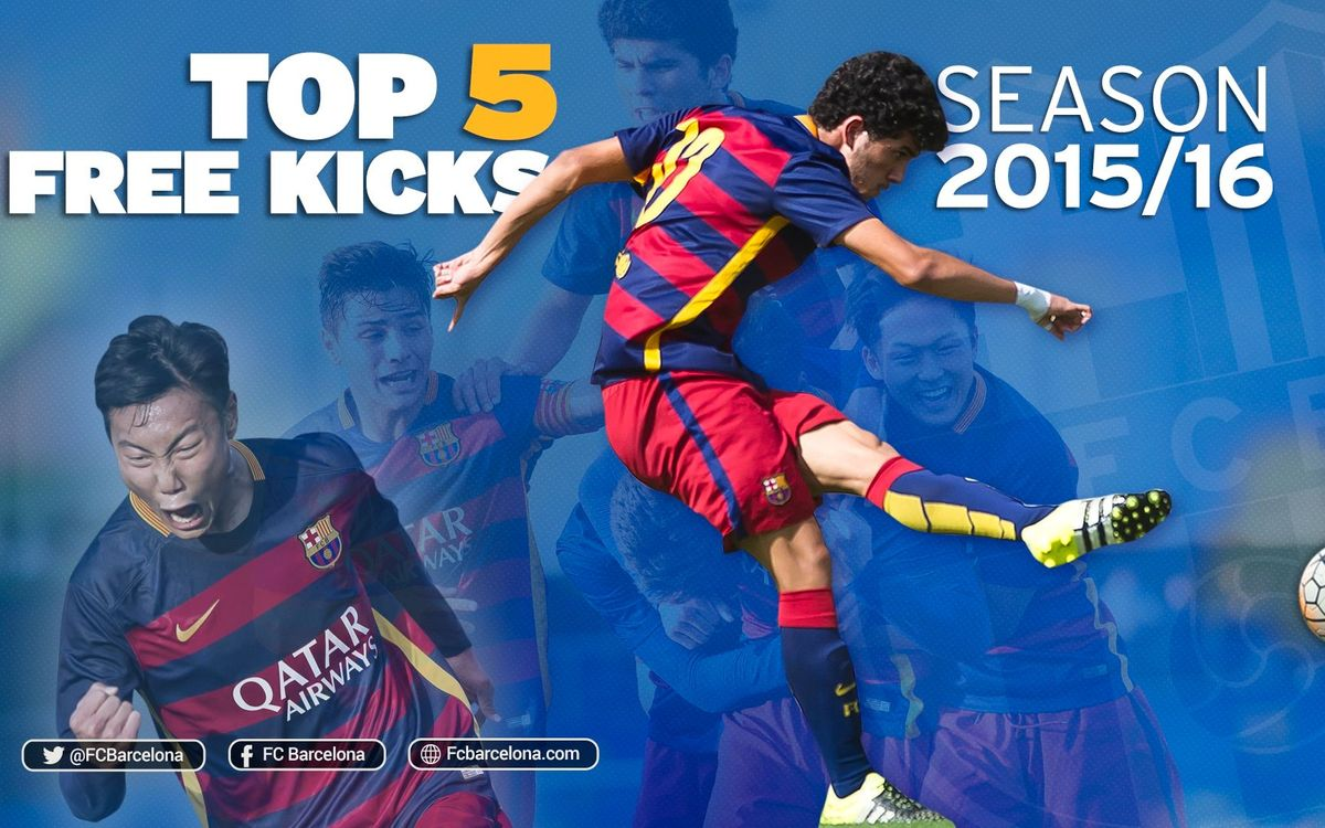 The five best free kick goals from FC Barcelona's youth football teams in the 2015/16 season