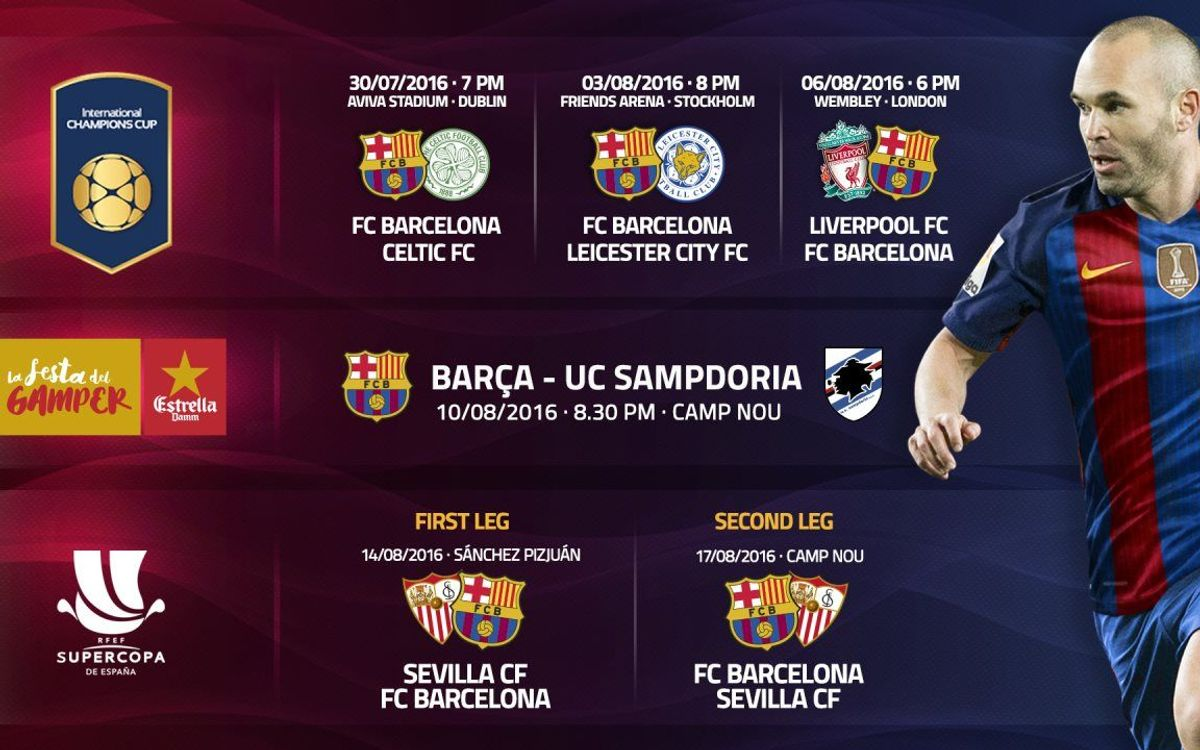 FC Barcelona's pre-season schedule