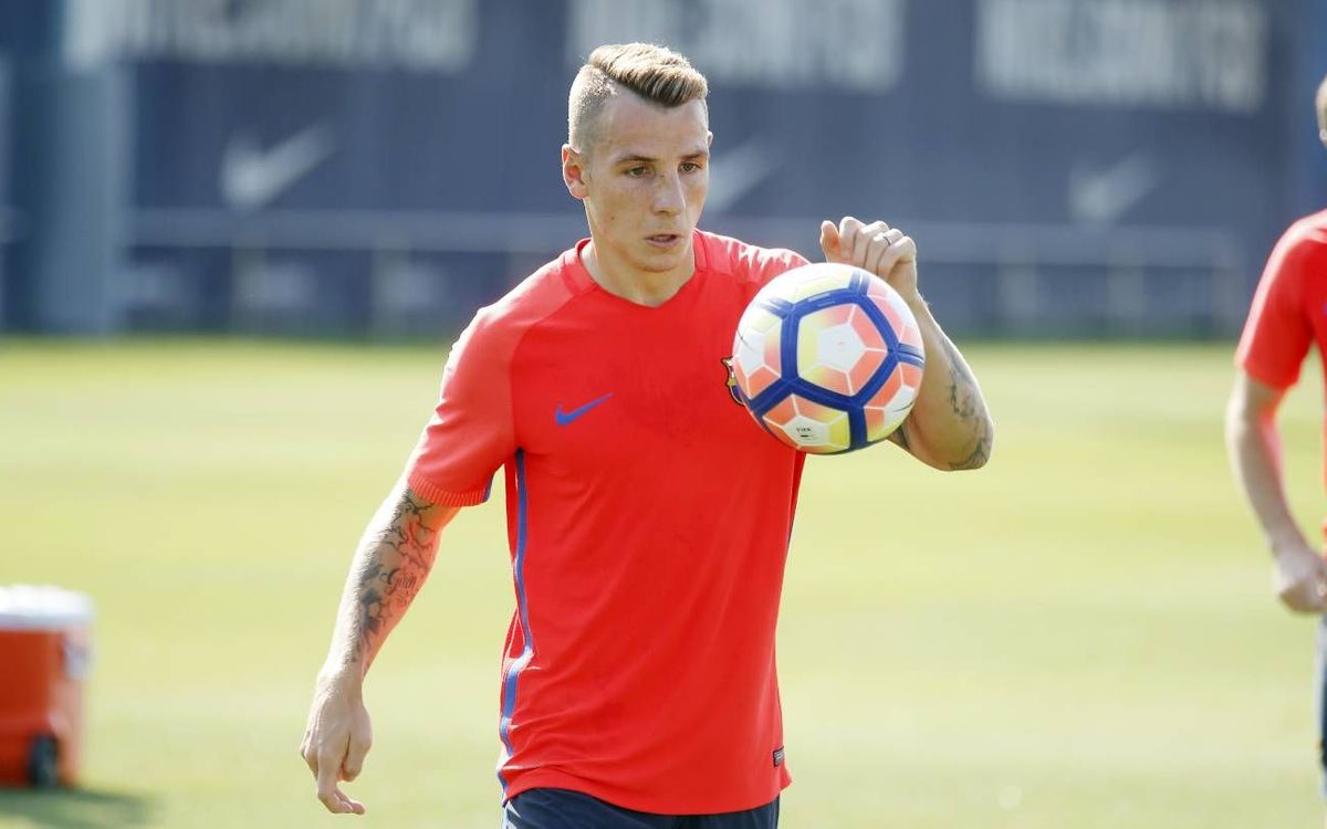 First FC Barcelona training session for Lucas Digne