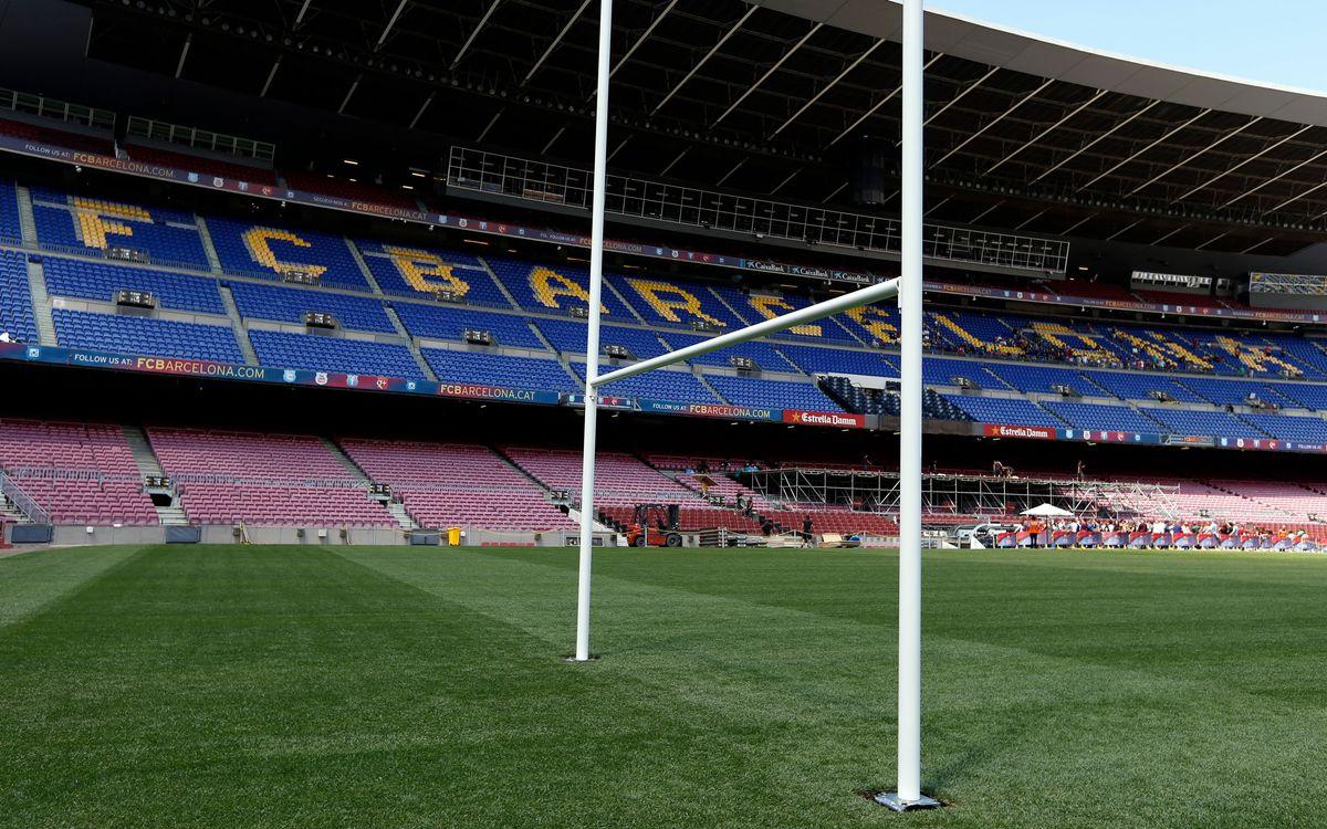 Imagen del Camp Nou con las porterías de rugby instaladas