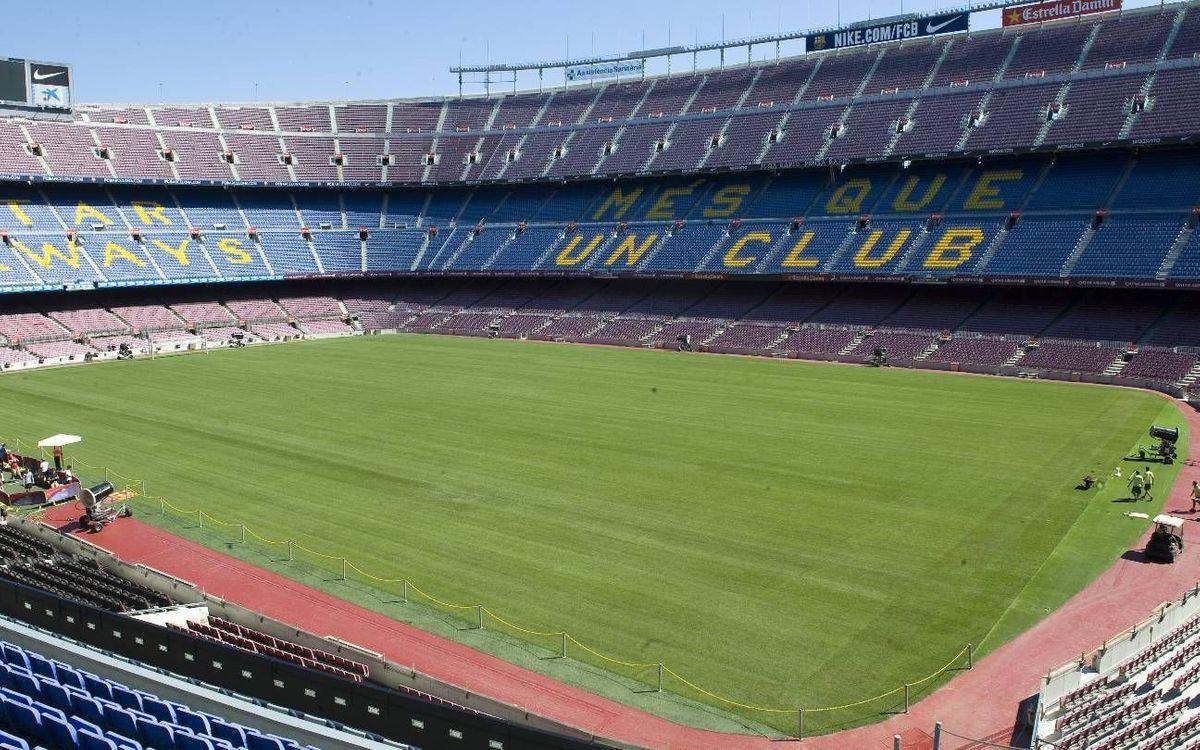 El Camp Nou completa el cambio de césped híbrido, que se estrena en el Gamper