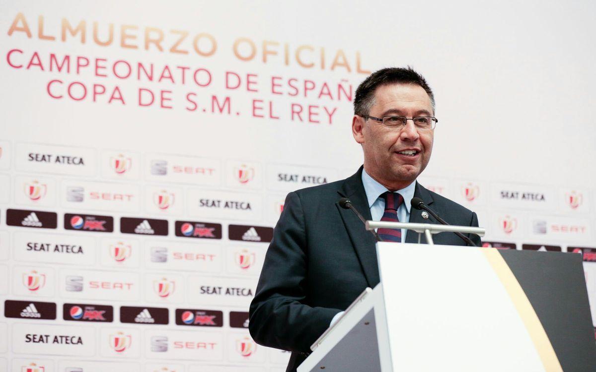 """Josep Maria Bartomeu: """"Hem estat clars mereixedors de la Copa"""""""