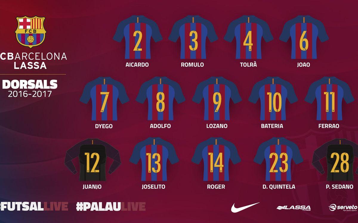 Els dorsals del Barça Lassa 2016/17