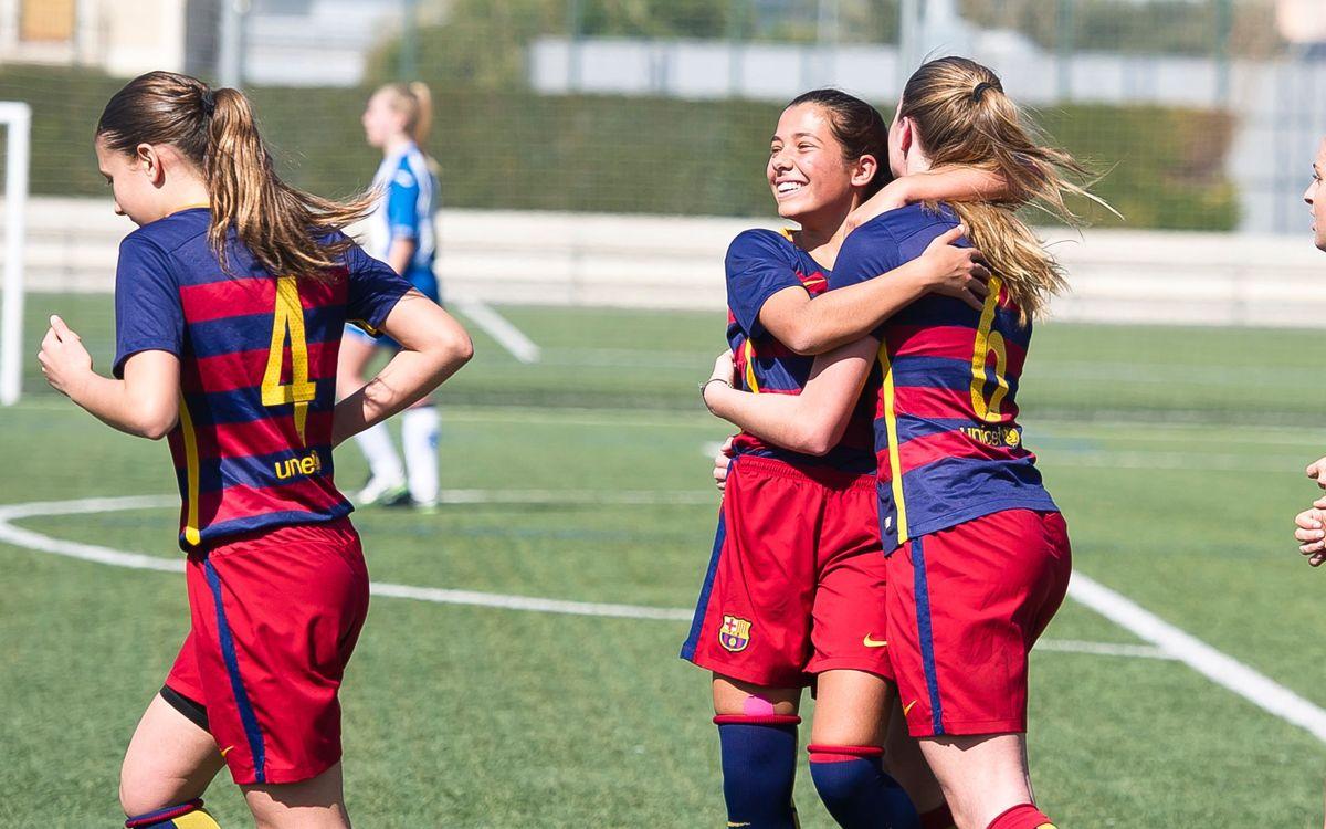 33 goles en 2 partidos de la cantera femenina