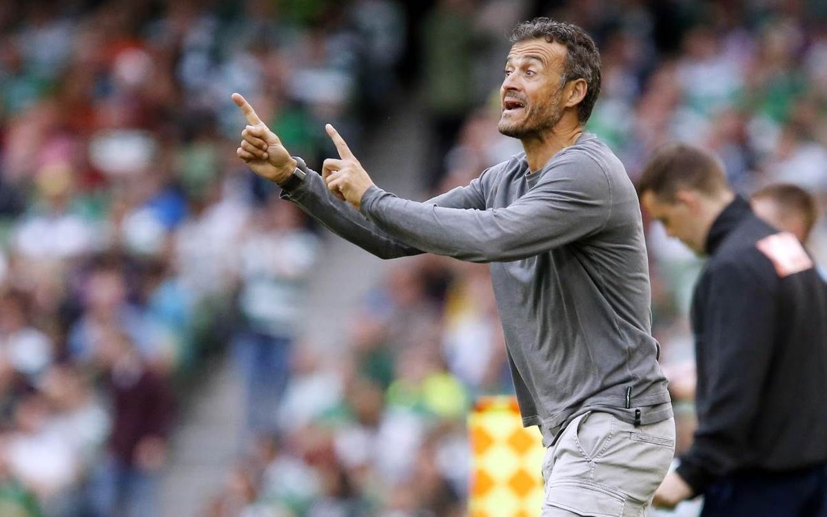 FC Barcelona manager Luis Enrique reacts positively to the win in Dublin