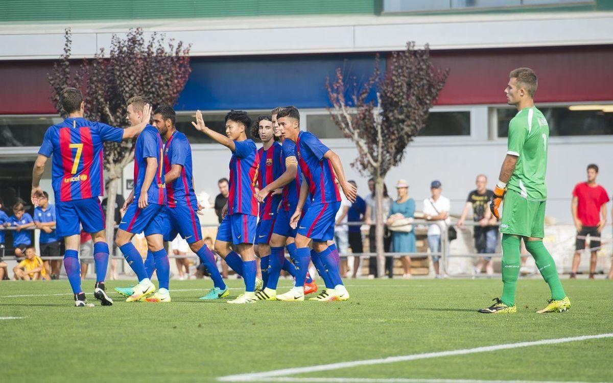 Un Barça B solvent supera el Santfeliuenc FC en el segon partit de pretemporada (2-0)