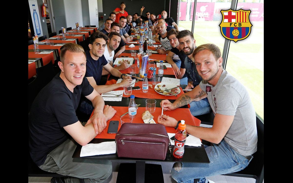 FC Barcelona hold team lunch at the Ciutat Esportiva