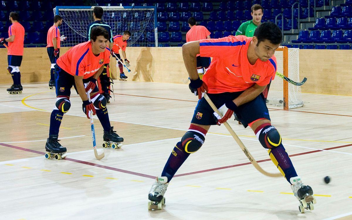 El primer entrenamiento del curso 2016/17 del Barça de hockey, completado