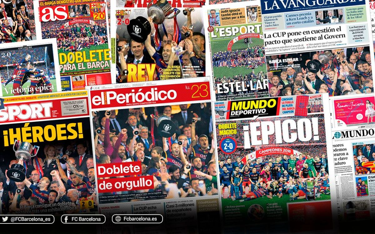 FC Barcelona's domestic double, as seen in the local and international press