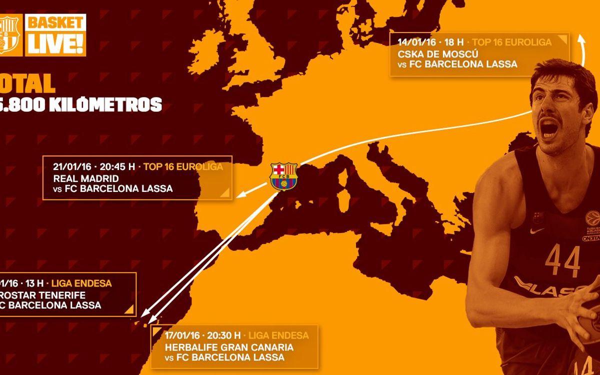 15.846 kilómetros en los cuatro próximos desplazamientos antes de volver al Palau