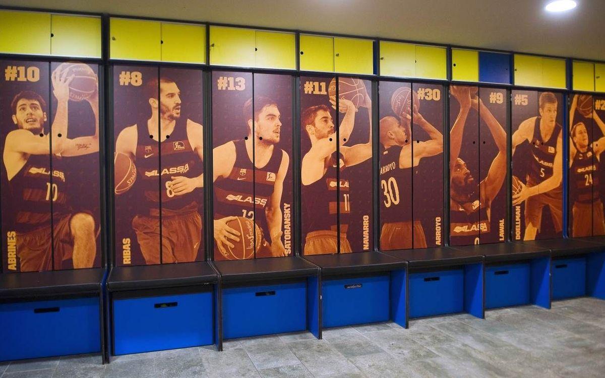 Canvi d'imatge del vestidor del FC Barcelona Lassa de bàsquet