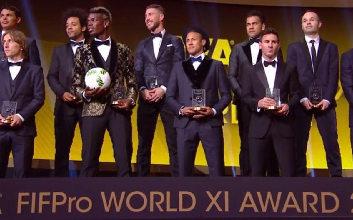 Messi, Neymar, Alves et Iniesta, présents dans le FIFA FIFPro XI 2015, le onze idéal de la FIFA