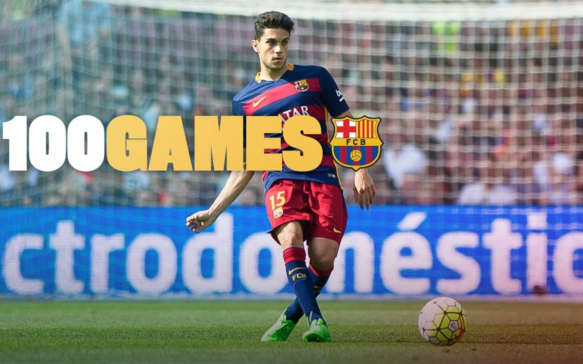 Marc Bartra reaches 100 official matches for FC Barcelona