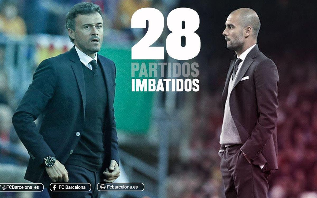Luis Enrique iguala los 28 partidos imbatidos del Barça de Pep Guardiola