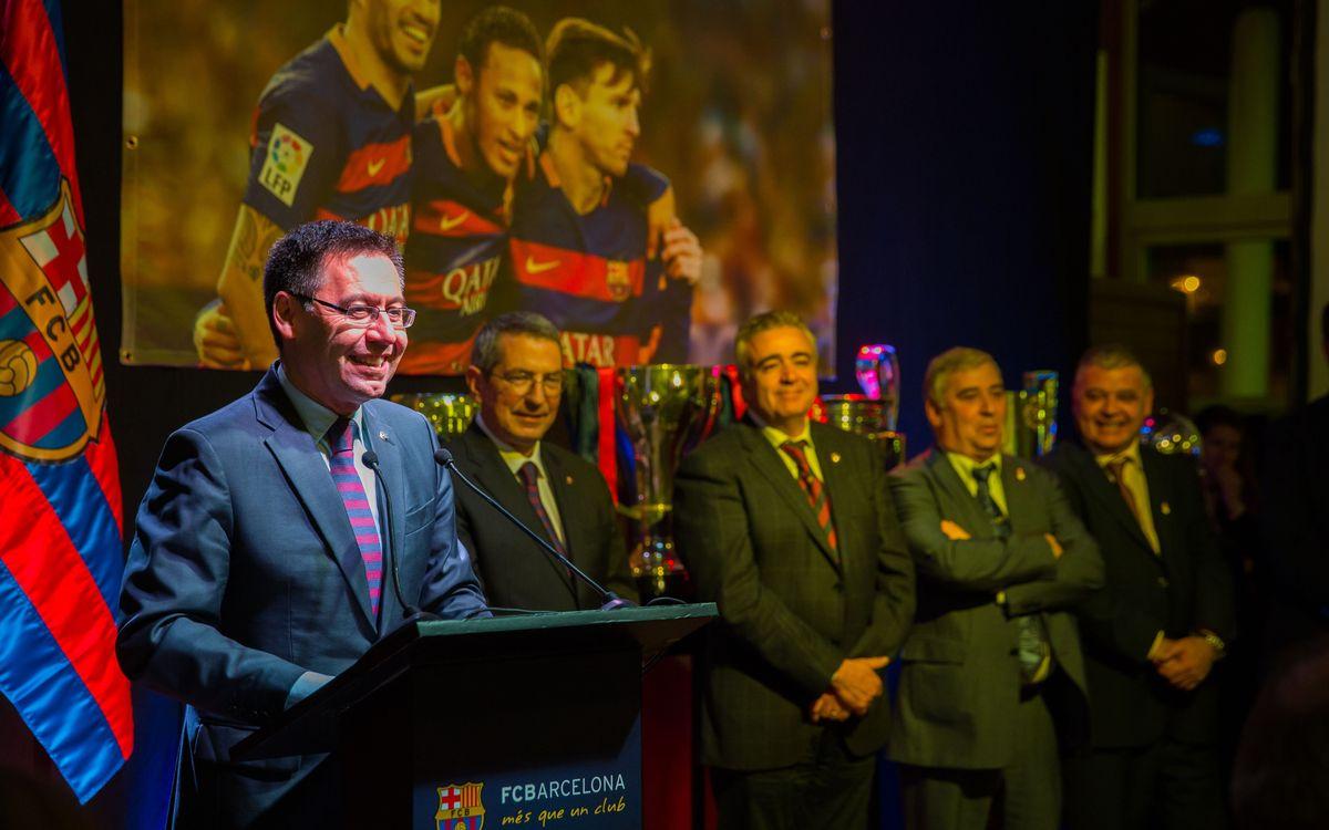 Josep Maria Bartomeu destaca en Melilla el papel de las peñas en la transmisión de los valores del Barça