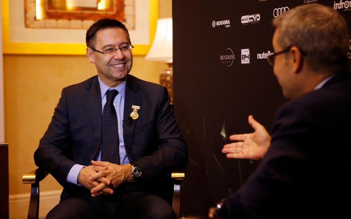 Josep Maria Bartomeu, protagonista en los medios informativos en Dubai
