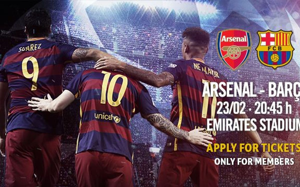 Ticket applications for Arsenal v FC Barcelona on 26 & 27 January