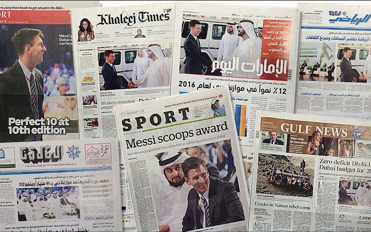 Gran repercusión en los medios de los Emiratos del éxito del Barça en los Globe Soccer Awards