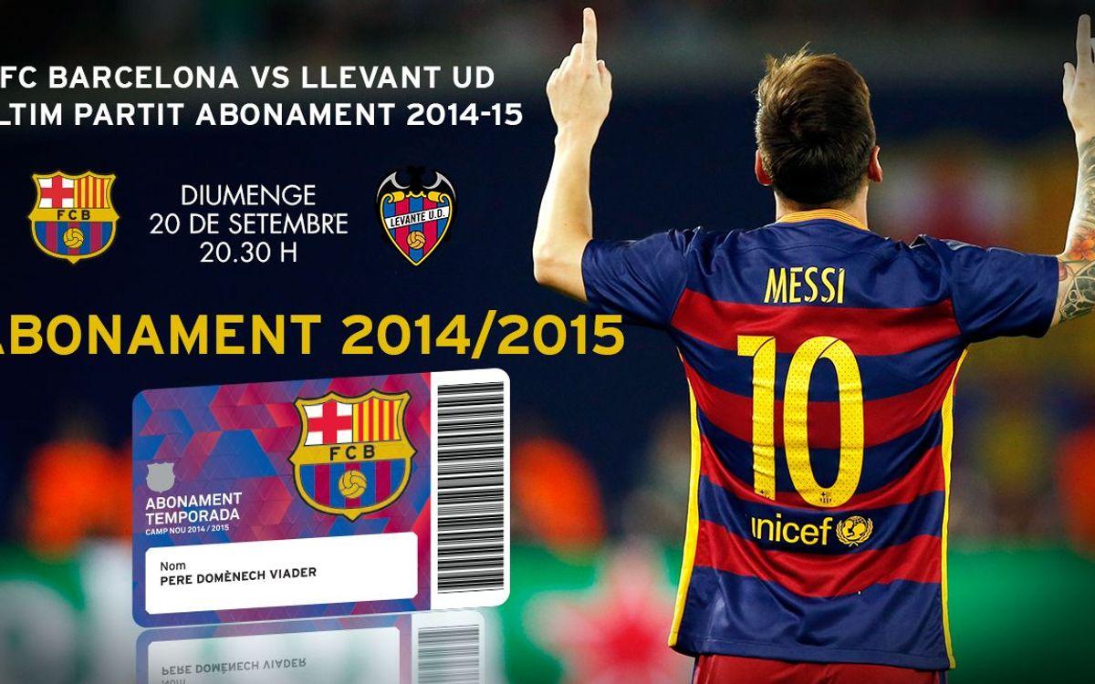 El Barça-Llevant, últim partit per utilitzar l'abonament de la temporada passada