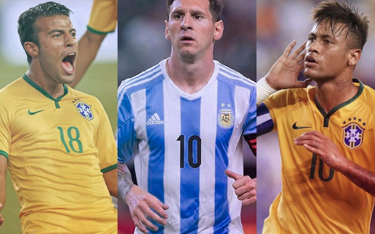Messi, Neymar Jr and Rafinha star for their countries