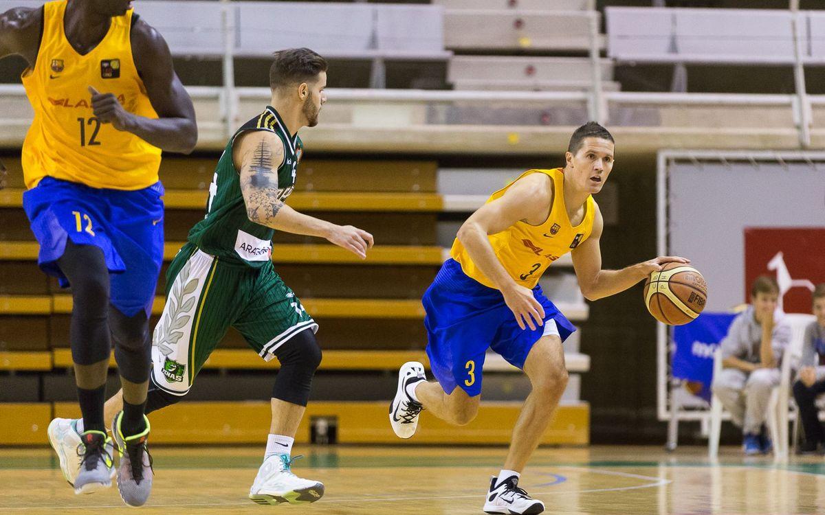 El Barça Lassa B de bàsquet venç a Osca i suma el segon triomf del curs (79-86)