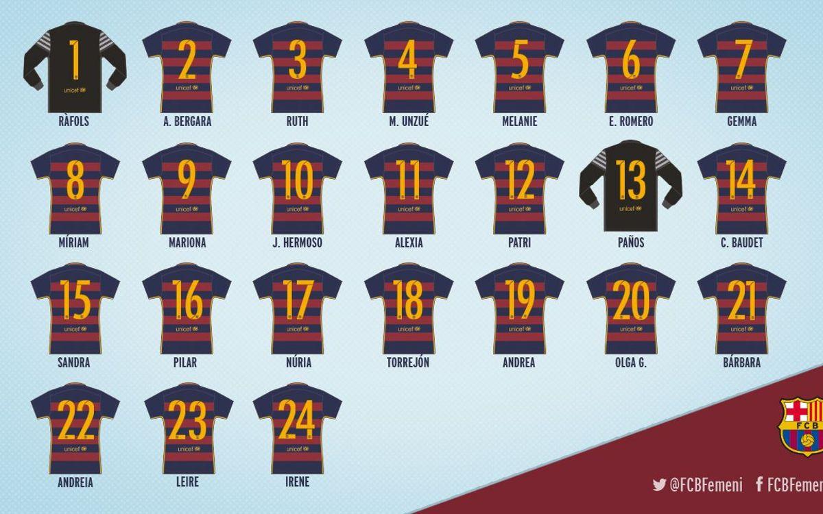 Els dorsals del Femení A per a la temporada 2015/16