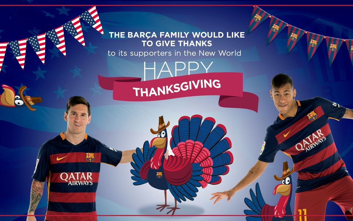 FC Barcelona sends Happy Thanksgiving wishes to its American fans worldwide