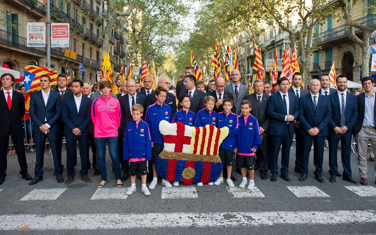 La representació del Club a l'ofrena al monument de Rafael Casanova