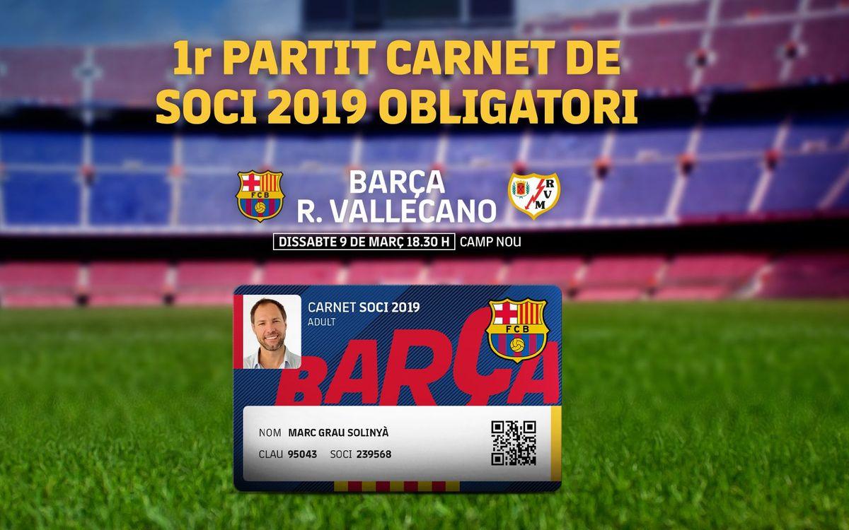 Imprescindible el carnet de soci del 2019 per al proper partit del Camp Nou