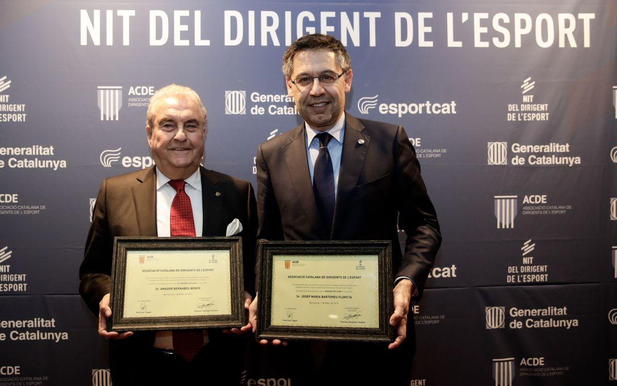 Bartomeu y Bernabéu, premiados en la Noche del Dirigente