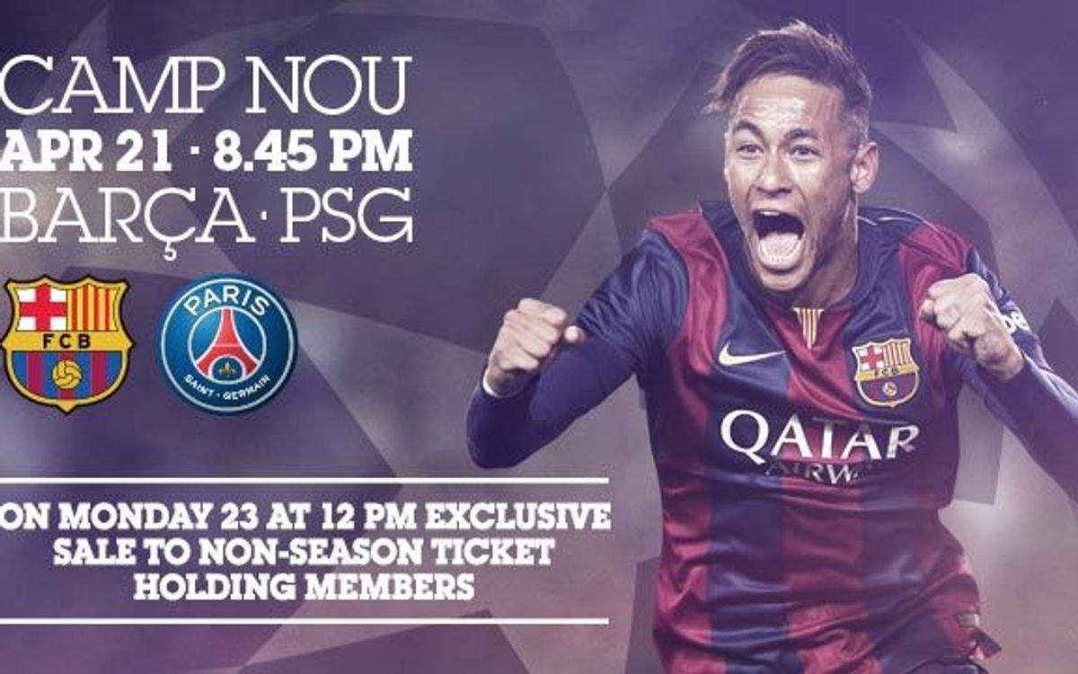 Tickets on sale for the second leg of FC Barcelona-PSG from Monday