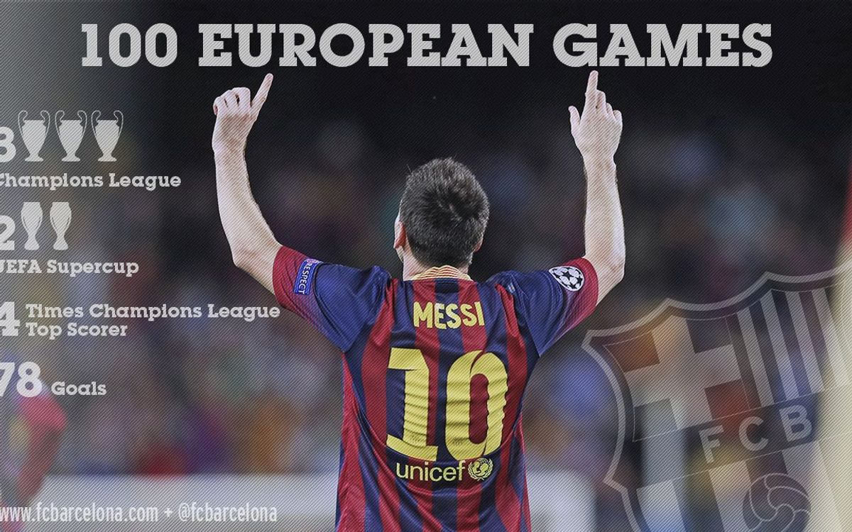 The Barça number 10 reaches a century of matches in Europe