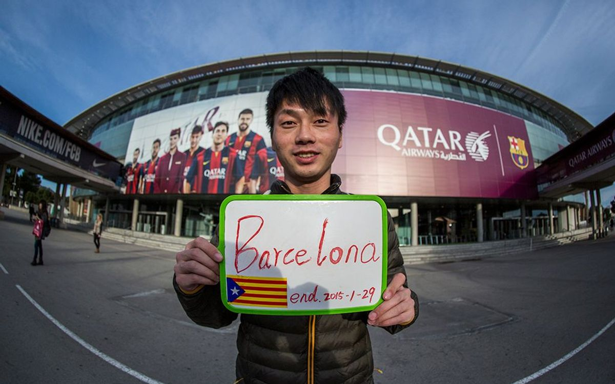 A man from China hitch hikes from Asia to see a game at Camp Nou