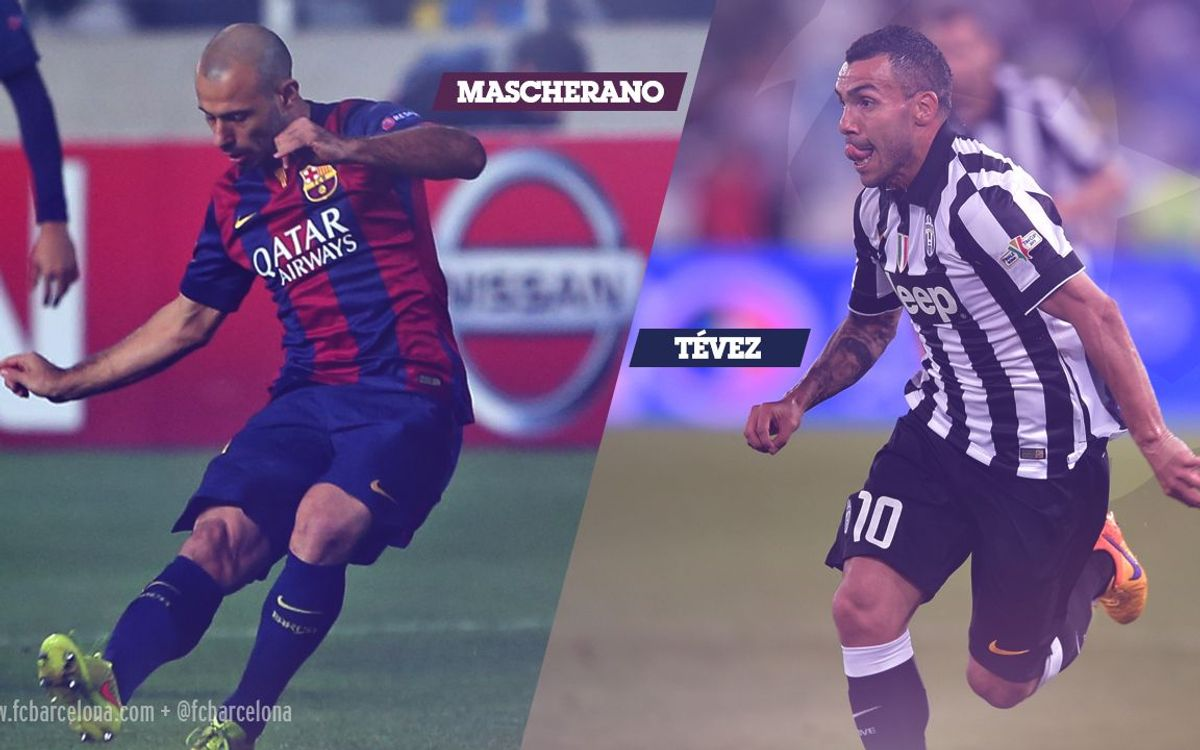 Carlos Tévez and Javier Mascherano, team mates back home but rivals in the Champions League Final
