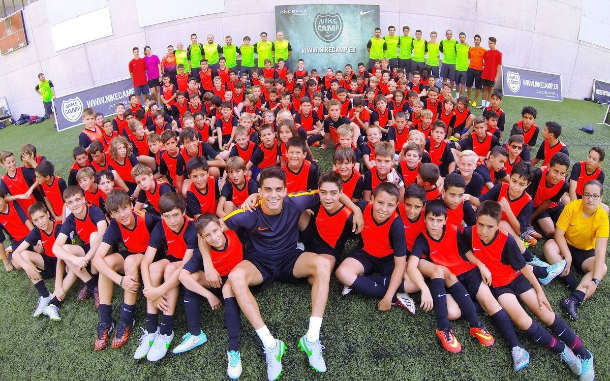 Marc Bartra visits the Nike Camp in Andorra