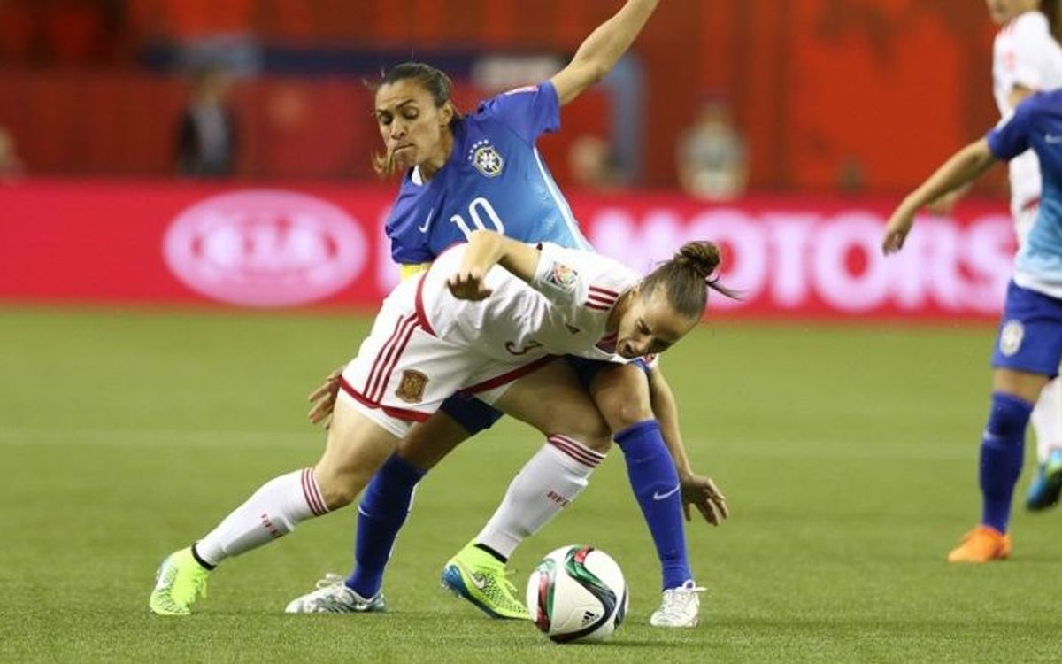 Spain women come up just short in 1–0 loss to Brazil