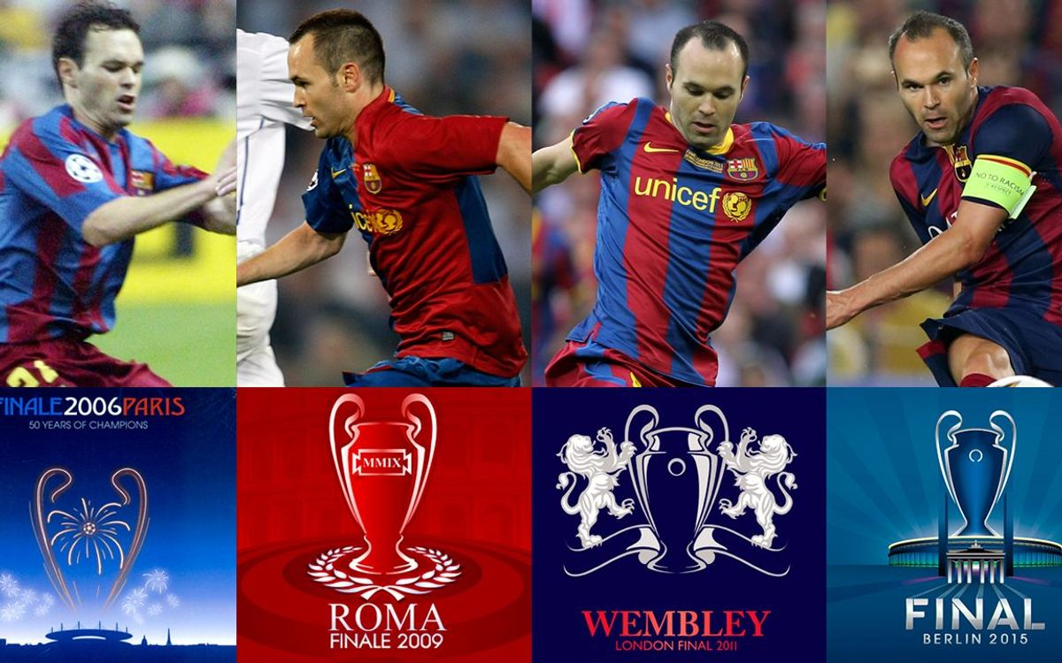 Iniesta plays fourth Champions League Final