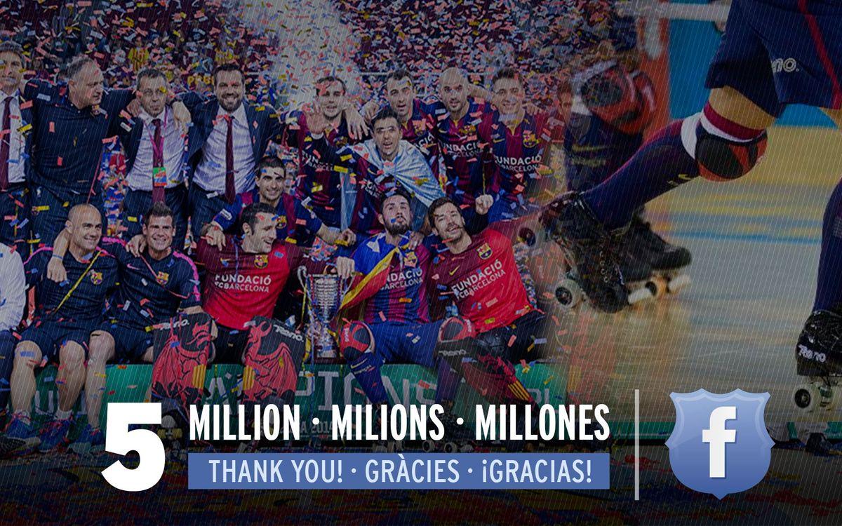 El Barça Lassa d'hoquei patins arriba als 5 milions de seguidors a Facebook