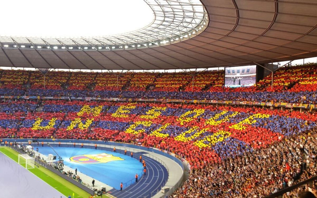 The FC Barcelona fan mosaic at the Olympiastadion Berlin